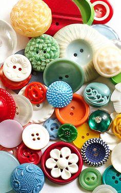 Colourful Vintage Plastic Buttons