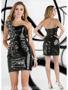 Sequins One Sshoulder Glistening Crystal Beading Tea Length Evening Dresses IM32215