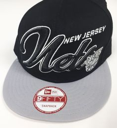 wholesale dealer f8f24 c525f New Era 9 Fifty NBA New Jersey Nets Snapback Hat Black Grey  9FIFTY   TruckerHat