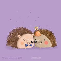 Couple of hedgehogs © Gina Maldonado 2015 cocogigidesign.com #animals #illustration #cute #hedgehog #kidlitart