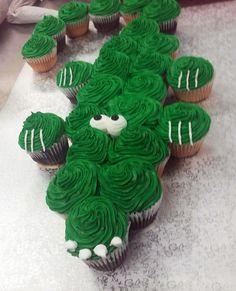 Made by CupCasions Kelowna. Alligator Cupcakes, Alligator Cake, Lion Cupcakes, Alligator Party, First Birthday Cupcakes, Birthday Cakes, Birthday Ideas, Alligator Birthday Parties, Pirate Cupcake