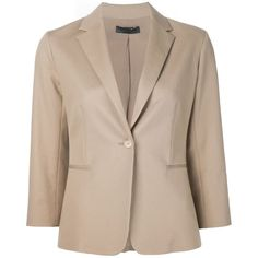 The Row classic blazer ($2,000) ❤ liked on Polyvore featuring outerwear, jackets, blazers, blazer, 3/4 sleeve jacket, 3/4 sleeve blazer, cotton blazer, beige blazer and cotton jacket