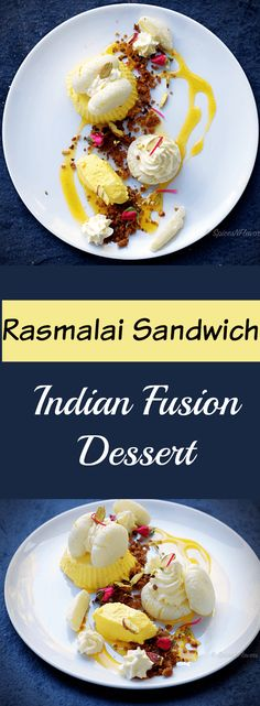 Malai Sandwich with Kesar Mousse Cardamom Crumble and Passionfruit Coulis indian fusion dessert rasmalai Indian Dessert Recipes, Indian Sweets, Desert Recipes, Dessert Ideas, Mousse, Fusion Food, India Food, Indian Dishes, Vegetarian Chocolate