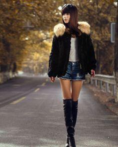 New Real 100% Rex Rabbit Fur Raccoon Women Coat Jacket Overcoat Garment Clothing #Furfox #BasicJacket