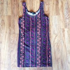 Tribal Aztec Sleeveless Body-Con by Forever 21 This super trendy mini body con dress by Forever 21 features a very stylish tribal aztec print that can be dressed up or down! It is a size large! Make an offer! Forever 21 Dresses Mini