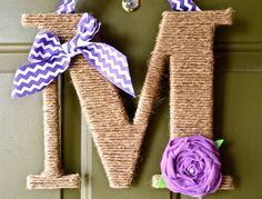 Twine Monogram Wreath with handcrafted felt flowers and a chevron ribbon to hang by Wreaths247 on Etsy