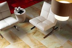 PORCEL-THIN Milano REVEENA and GOLD LEAF sandstone effect large format and ultra-thin porcelain tiles have been used for the floor of this contemporary lounge Wall And Floor Tiles, Wall Tiles, Room Tiles, Contemporary Lounge, Porcelain Tiles, Living Room Flooring, Floor Chair, Large Format, Interior Design