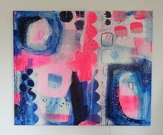 Abstract painting with neon colours www.mettesmaleri.dk