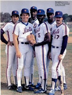 Jesse Orosco, Gary Carter, Darryl Strawberry, George Foster, Dwight Gooden, and Keith Hernandez of the New York Mets.