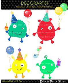 Digital clip art for all use,Doodle Party, Little Monster clip art