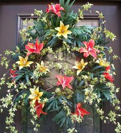 Orchid wreath summer tropical