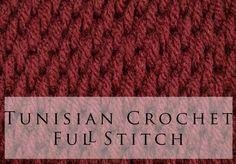 Tunisian Crochet Full Stitch, the other side has a rib in it, could be used for a cable stitch?