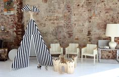 B+W stripe teepee by Moozle on Etsy photographed on location in Amsterdam here...  http://www.engelvoelkers.com/nl/amsterdam/amsterdam-west/bijzonder-sfeervol-huis-met-industrieel-karakter-w-020sub-3396611.1065055_exp/?startIndex=0&businessArea&q&facets=bsnssr%3Aresidential%3Bcntry%3Anetherlands%3Bdstrct%3Aamsterdam%3Blcncr%3Aamsterdam_west%3Bobjcttyp%3Acondo%3Brgn%3Anoord_holland%3Btyp%3Abuy%3B&pageSize=10&language=nl&elang=nl