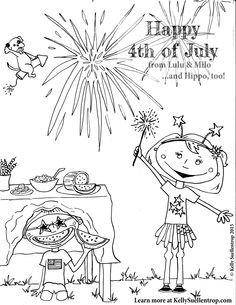 free printable 4th of july coloring page featuring lulu and milo characters of the childrens
