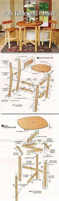 Table and Chairs Plan - Furniture Plans and Projects | WoodArchivist.com