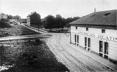 továrna American Heating před rokem 1929-později objekt ČSLA-vzadu bývalá ošetřovna,nyní TESCO Retro, Historia, Retro Illustration