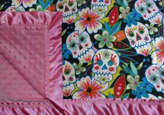 Sugar Blossom Sugar Skulls girls baby and toddler blanket by Miso Punk - baby shower gift Toddler Blanket, Baby Girl Blankets, Baby Mine, My Baby Girl, Sugar Skull Girl, Sugar Skulls, Baby Boy Shower, Baby Shower Gifts, Baby Showers