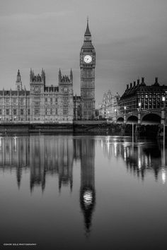 Big Ben, London, UK.. Love the black and white aspect