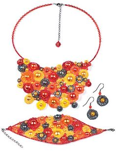 Bib-Style Necklace, Bracelet and Earring Set with Seed Beads and Glass Pearls - Fire Mountain Gems and Beads