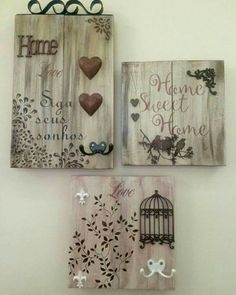 Pin de quina costa em idéia декупаж, декор e идеи Crafts To Sell, Diy And Crafts, Arte Pallet, Deco Originale, Candle Holders Wedding, Craft Wedding, Mixed Media Canvas, Craft Videos, Craft Gifts