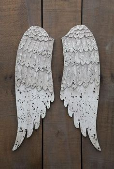"""MDF Wood Wing Set - 20"""" high, Off-White and Distressed - Eleanor Brown Boutique"""