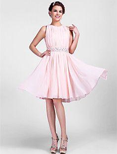 A-line Jewel Knee-length Chiffon Cocktail Dress  – USD $ 89.69