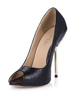 X&D Damenschuhe - High Heels - Party & Festivität - Kunstleder - Stöckelabsatz - Absätze / Zehenfrei - Schwarz / Silber - http://on-line-kaufen.de/tba/x-d-damenschuhe-high-heels-party-festivitaet