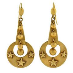 Victorian Moon & Stars Gold Earrings