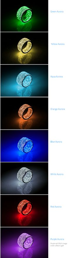 Aurora Carbon Fiber Rings are carbon rings with glow. You get carbon fiber weave by day, and glowing rain stripes by night.