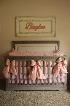 This pink and cream shabby elegance nursery was custom made for a princess! There is a good blend between shabby chic and sheer elegance.