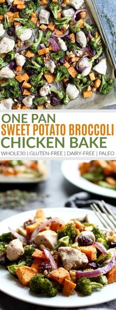 One-Pan Sweet Potato Broccoli Chicken Bake Dinner Recipes Gluten-Free Dinners Paleo Dinners Dairy-Free Dinners Chicken Recipes Easy Dinner Recipes Healthy Dinner Recipes The Real Food Dietitians Whole30 Dinner Recipes, Paleo Recipes, Healthy Dinner Recipes, Real Food Recipes, Cooking Recipes, Food Tips, Pan Cooking, Paleo Appetizers, Zuchinni Recipes