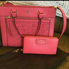 Kate Spade Handbag with Matching Wallet PRICE FIRM! Beautiful Kate Spade Perri Lane Handbag and Matching Wallet in Peony....perfect for Spring/Summer!  Dust Bag Included Handbag Dimensions are 12x5.5x9 and includes both handles and removal crossbody strap.  Handbag Retail = $355 Wallet Retail =$145 kate spade Bags Shoulder Bags