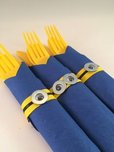 Minion Party Cutlery - Despicable Me inspired Disposable Party Silverware, Minion party flatware