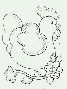 Chicken design American country style to paint eem tissue Applique Templates, Applique Patterns, Applique Quilts, Applique Designs, Embroidery Applique, Machine Embroidery, Quilt Patterns, Embroidery Designs, Chicken Crafts