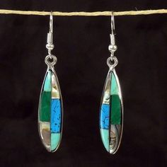 Turquoise, Abalone, and Malachite Ellipse Alpaca Silver Earrings - Artisana