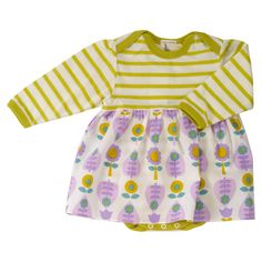 Body and Skirt for Baby Girl - Leaf Print