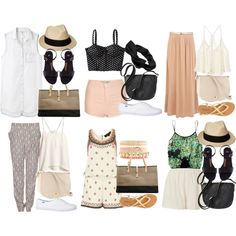 I want it all.. especially the outfit on the top right.. Cute Travel Outfits, Travel Outfit Summer, Vacation Outfits, Summer Outfits, Cute Outfits, Summer Clothes, Summer Travel, Holiday Outfits, Summer Fun