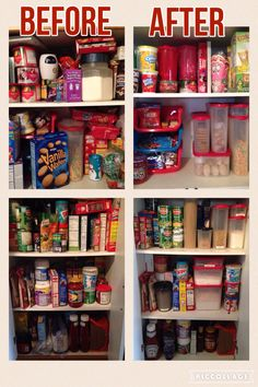 This is my actual pantry, before and after. It took about an hour from start to finish, I moved one shelf up a little. Overall I love the look, it's so organized, and I won't have to throw stuff out for getting stale! Money and mind saving. www.my.tupperware.com/aliciagarrett