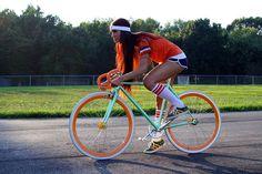 Lovely bike, lovely girl.