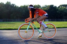 Lovely bike, lovely girl.#Repin By:Pinterest++ for iPad#