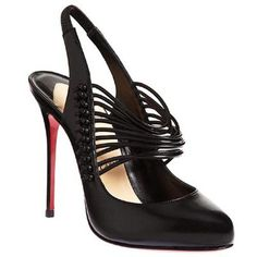 Christian Louboutin  Mille Cordes 100mm Slingbacks Black hunting for limited offer,no tax and free shipping.#shoes #womenstyle #heels #womenheels #womenshoes  #fashionheels #redheels #louboutin #louboutinheels #christanlouboutinshoes #louboutinworld