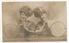 RPPC Beautiful Twin Girls with Banjos Vintage Real Photo Banjo Guitar Postcard | eBay