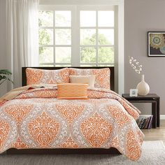 Orange Grey King/Cal King Coverlet Set Damask Themed Bedding Contemporary Trendy Taupe Bright Bold Stylish Cheery Tangerine Medallion Polyester