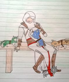 Assassins creed Altair with unity co op kittens :3 drawing