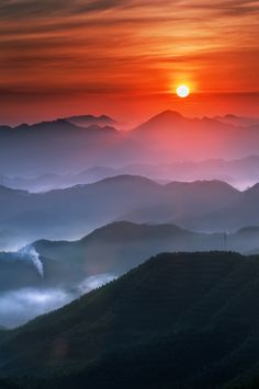 ~~Hills Sunrise • Red sun rising from the misty hillside, Haimen, South China Sea • by jedi~~