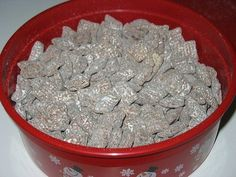 Chex muddie buddies  9 cups favorite chex  1 c chocolate chips  1/2 c peanut butter  1/4 c butter   1 tsp vanilla  1 1/2 c powdered sugar    melt chocolate chips, peanut butter and butter in microwave on high 1 minute; stir. microwave 30 seconds longer or until mixture is smooth. stir in vanilla. pour over cereal, stirring until evenly coated. pour in 2-gallon plastic bag. add powdered sugar. seal and shake until coated. spread on waxed paper to cool. store airtight