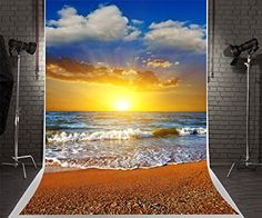 5x7ft Beach Photography Backdrops Scenic Sky Wave Background Wrinkles Free Sunset Backdrop Shoot
