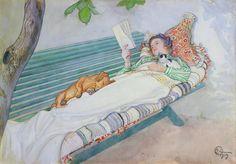 carl larsson lesende Frau mit HUn und katze