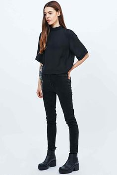 Light Before Dark Relaxed Funnel Top in Black - Urban Outfitters