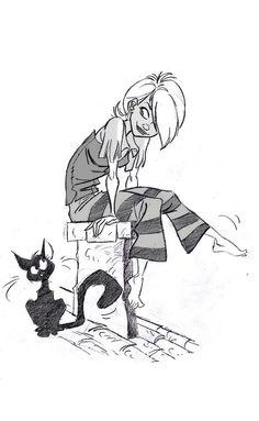 chica y gatito